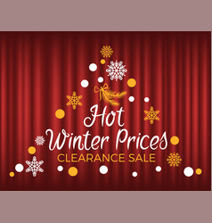 hot winter prices clearance sale seasonal promo vector image