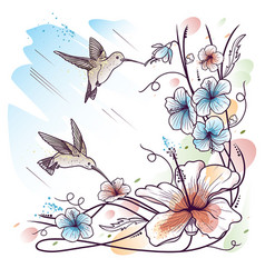 Humming-birds and tropical flowers vector