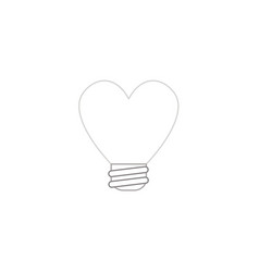 Icon concept of heart shaped light bulb color vector