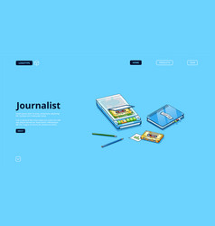 journalist banner with equipment for interview vector image