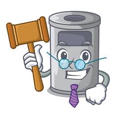Judge cartoon steel trash can in the office vector