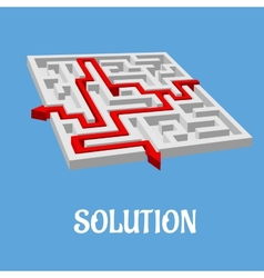 Labyrinth puzzle with two solutions vector image