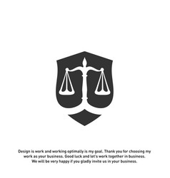 law office logo in the form of shield with greece vector image