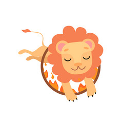 Leo jumping through ring fire cute funny vector