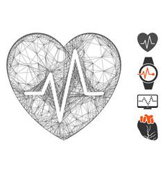 linear cardiology heart pulse mesh vector image