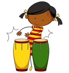 Little girl playing drums vector