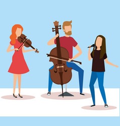 man playing cello and woman playing violin vector image