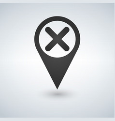 map pointer with close icon on white background vector image