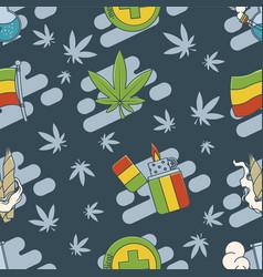 marijuana attributes icons set two vector image