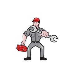 Mechanic Punching With Spanner Cartoon vector