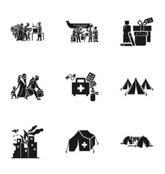 Migrant refugee icon set simple style vector
