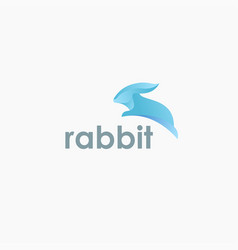 Modern jumping rabbit logo icon template vector