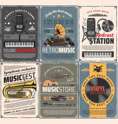 Music and sound recording retro posters vector