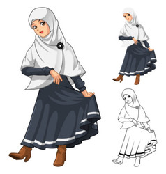 Muslim Girl Fashion Wearing White Veil or Scarf vector