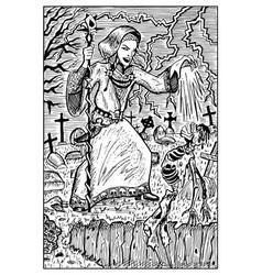Necromancer engraved fantasy vector
