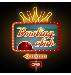 Neon sign Bowling club vector image