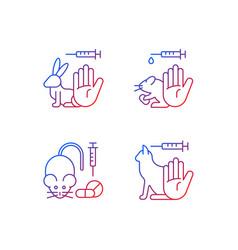 No animal cruelty gradient linear icons set vector