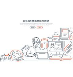 Online design course - modern line design style vector