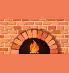 oven bonfire stove - cartoon vector image