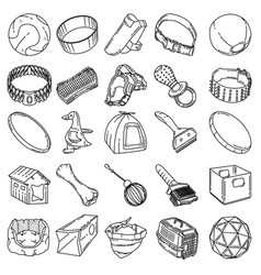 pet-3 tools set icon doodle hand drawn vector image