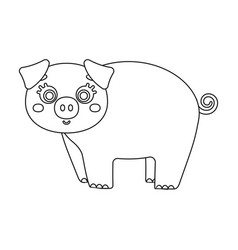 Piglet single icon in outline stylepiglet vector