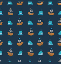 Pirate boat and whale seamless pattern cute vector