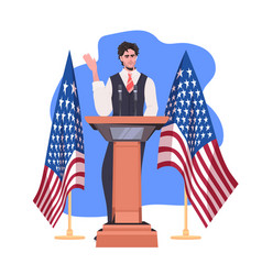 Politician making speech from tribune with usa vector
