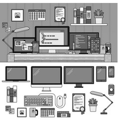 programmer working cabinet line monochrome vector image