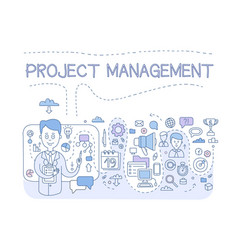 Project management set organizing company vector