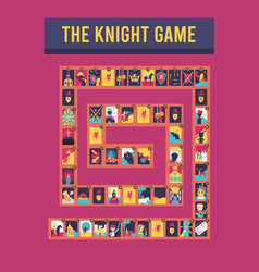 Puzzle board knight game vector