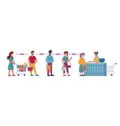 queue people in grocery store social distance vector image