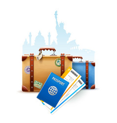 Retro suitcases passport vector