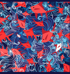 seamless yarn pattern a marine red fish vector image