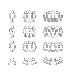 set line outline icons people group vector image