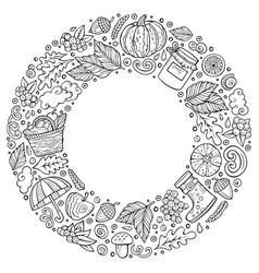 Set of autumn cartoon doodle objects symbols vector