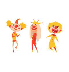 set of clowns harlequins performances show vector image