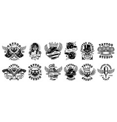 Set of custom tattoo designs for white background vector