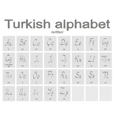 set of monochrome icons with turkish alphabet vector image