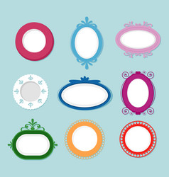 Set of round vintage cartoon vector