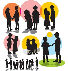 Set silhouettes friendship vector