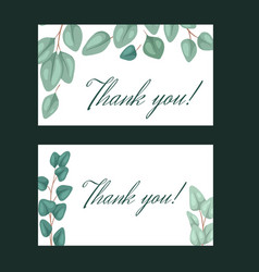 set thank you card with flat eucalyptus and vector image