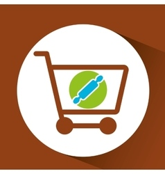 Shopping Cart with rolling pin vector image