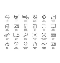 Simple set of black thin line ecommerce icon vector