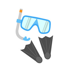 Snorkel flippers and mask isolated on white vector