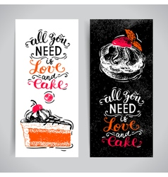 Sweet cakes pastry hand drawn vintage poster set vector