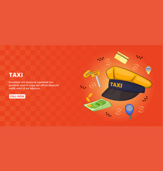 Taxi symbols banner horizontal cartoon style vector