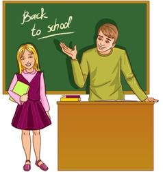 Teacher at blackboard in classroom with girl vector image
