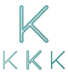 Teal letter k logo design set vector image