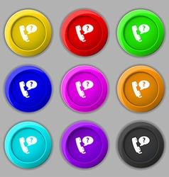Telemarketing icon sign symbol on nine round vector
