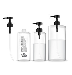 Transparent cosmetic bottle with dispenser pump vector